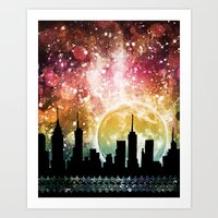 moonrise Art Prints featuring Moonrise by Jenndalyn
