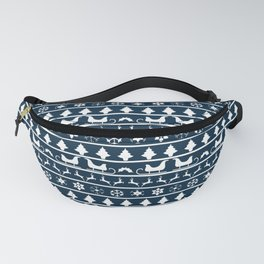 Midnight Blue & White Christmas Sweater Knit Pattern Fanny Pack