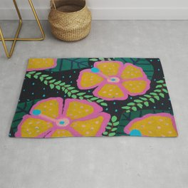 Large Yellow Hibiscus on Black Rug