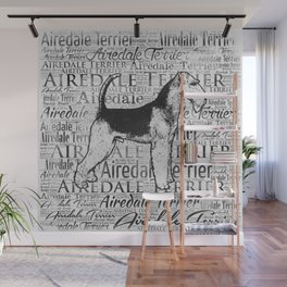 Airedale Terrier Monotone Word Art Ink Wall Mural