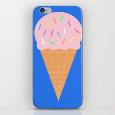 Sweet Ice cream cone with blue background iPhone & iPod Skin