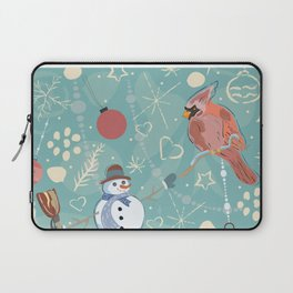 Seamless Winter Pattern with Christmas Ornaments Laptop Sleeve