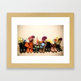 Boots and Florals Framed Art Print