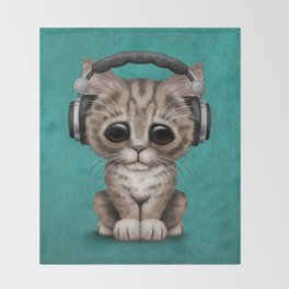 Cute Kitten Dj Wearing Headphones on Blue Throw Blanket
