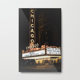 The Chicago Theatre at Night  Metal Print