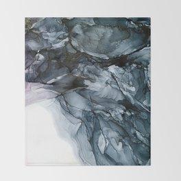 Dark Payne's Grey Flowing Abstract Painting Throw Blanket