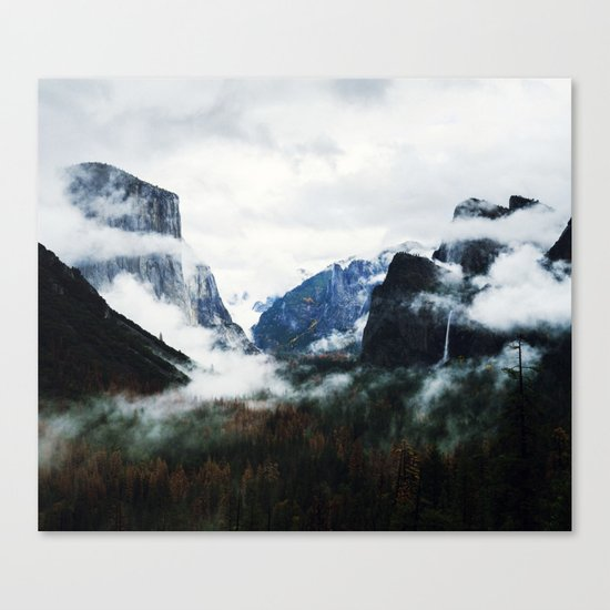 Cloudy Forest Great Outdoors Mountains Photography Canvas Print