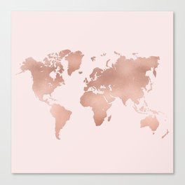 Rose Gold World Map Canvas Print