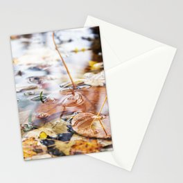 Autumn Leaves in Lake Stationery Cards