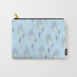 Abstract floral pattern on blue background, hand drawn illustration with flowers Carry-All Pouch
