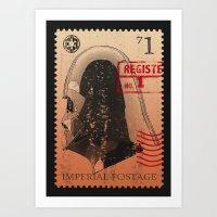 Darth Vader Vintage stamp STAR.WARS digital art Art Print