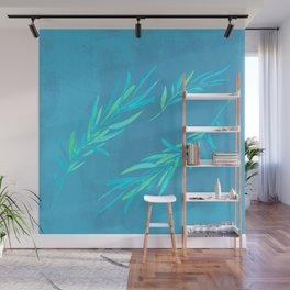 Eucalyptus leaves blue Wall Mural