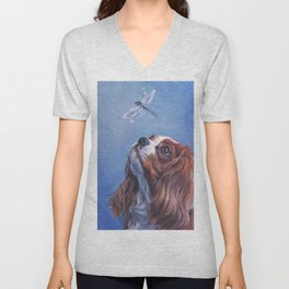 Beautiful Blenheim Cavalier King Charles Spaniel Dog Painting by L.A.Shepard Unisex V-Neck