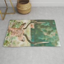 Deer head watercolor painting Rug