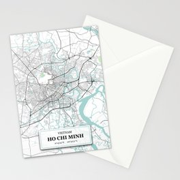 Ho Chi Minh, Vietnam City Map with GPS Coordinates Stationery Cards