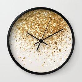 Sparkling Gold Glitter Glam #2 #shiny #decor #art #society6 Wall Clock