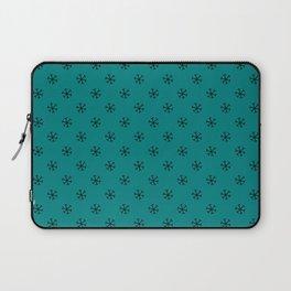 Black on Teal Green Snowflakes Laptop Sleeve