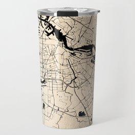 Amsterdam Gold on Black Street Map Travel Mug