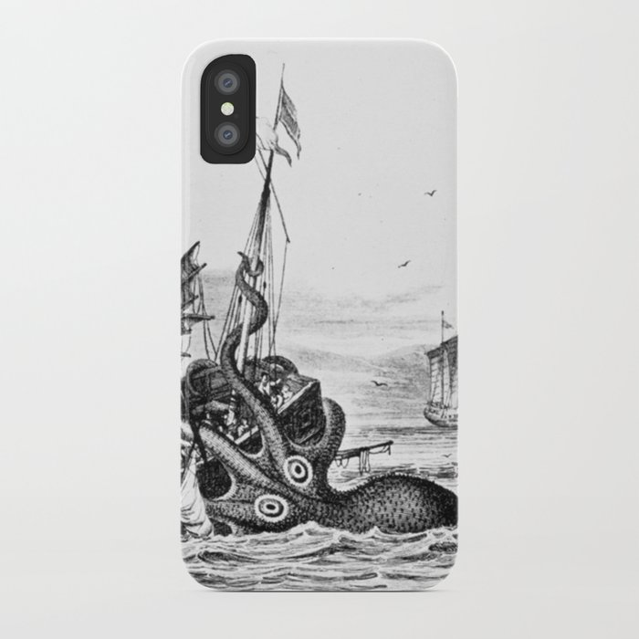 1810 vintage nautical octopus steampunk kraken sea monster drawing print Denys de Montfort retro iPhone Case