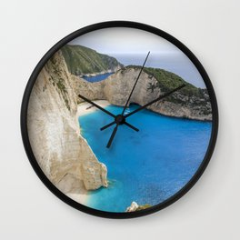 Navagio Beach with Shipwreckon Zakynthos Island, Greece Wall Clock