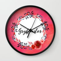 gryffindor Wall Clocks featuring HP Gryffindor in Watercolor by Snazzy Sisters