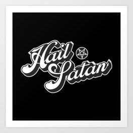 Hail Satan - Grayscale pop vintage letters Art Print