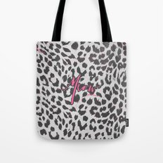 Pink Black White Girly Chic Leopard Print Pattern Tote Bag