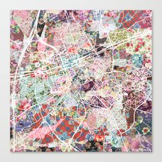 Perpignan map Canvas Print
