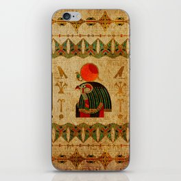 Egyptian Horus Ornament on Papyrus iPhone Skin