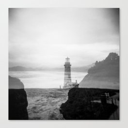 Ghostly Lighthouse - Yaquina Head Lighhouse in Newport, Oregon Canvas Print