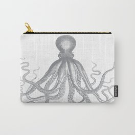 Octopus   Vintage Octopus   Tentacles   Grey and White   Carry-All Pouch