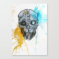 dishonored Canvas Prints featuring Corvo's Mask - Dishonored - Ink Splatter by Salzburn Designs Shop