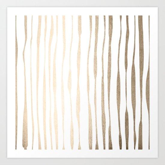 White Gold Sands Ink Pinstripes Art Print