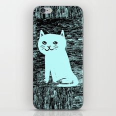 Wood grain cat iPhone & iPod Skin
