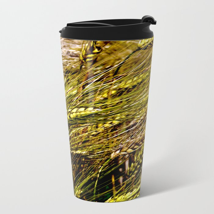 Golden Wheat Field Metal Travel Mug