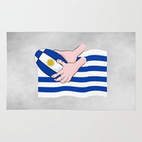rugby Area & Throw Rugs featuring Uruguay Rugby Flag by mailboxdisco
