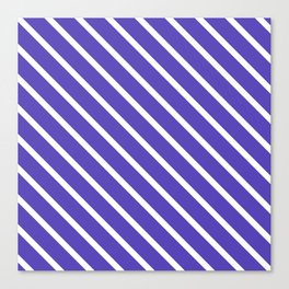 Lavender Blue Diagonal Stripes Canvas Print