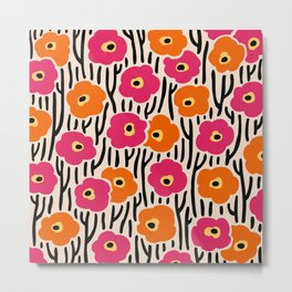 Wild Flowers Pattern Pink and Orange Metal Print