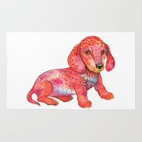 dachshund Area & Throw Rugs featuring Mini Dachshund  by Ola Liola