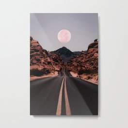 Road Red Moon Metal Print