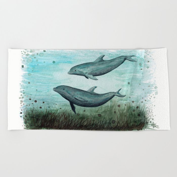"""""""Two Inshore Dolphins"""" by Amber Marine ~ Watercolor Painting, (Copyright 2015) Beach Towel"""