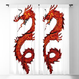 Mythical Red Dragon Blackout Curtain