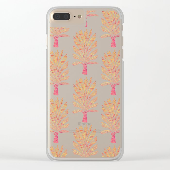 Palm Tree – Peachy Pink Palette Clear iPhone Case