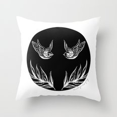 Sparrows and Ferns Throw Pillow