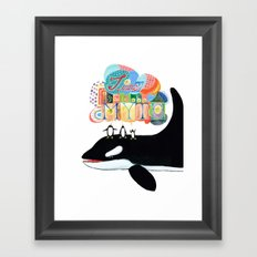 TIME IS A MYTH, penguins singing on a whale Framed Art Print