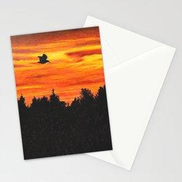 Sunset sky with bird Stationery Cards