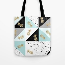 Pastel color block watercolor dots faux gold pineapple Tote Bag