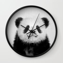 Panda Bear - Black & White Wall Clock