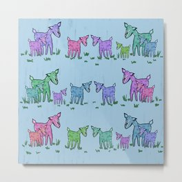 Goat Family Pattern Metal Print