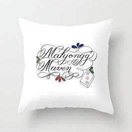 Mahjongg Mahjong Maven Ladies Game with Bamboo Tile Throw Pillow